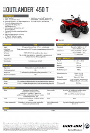 CAN-AM OUTLANDER 450 T 2020, 60 km/h - Punainen